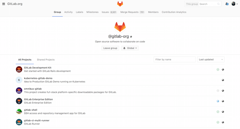 The GitLab group administration screen.