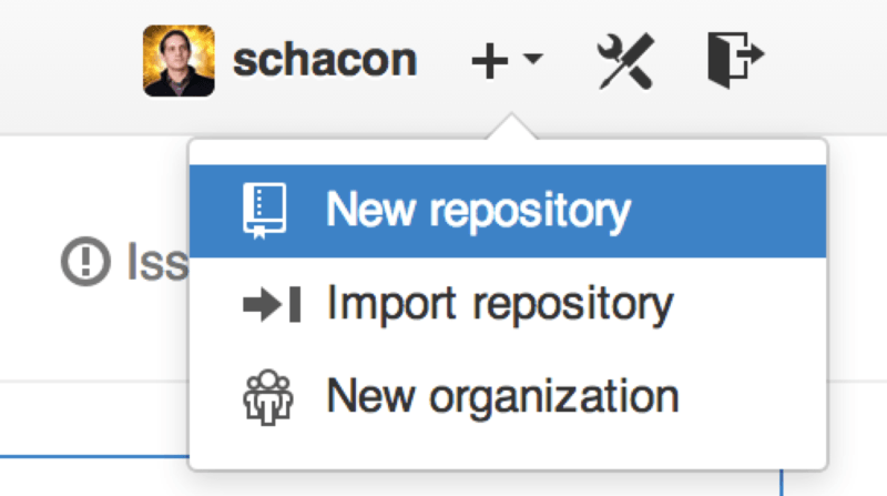 The ``new repository'' dropdown