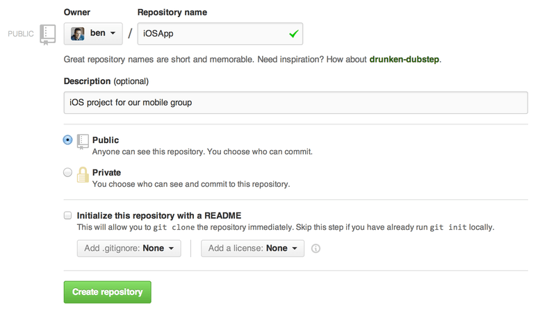 The ``new repository'' form